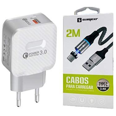 Carregador Original Turbo + Cabo Magnético de 2 Metros Tipo C Para Celulares Lg, Motorola, Samsung