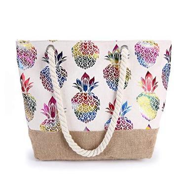 Bolsa grande de lona da GINBL, sacola de abacaxi com zíper para mulheres, viagens, compras, corda, alça para praia, bolsa de mão, Pineapple, One_Size