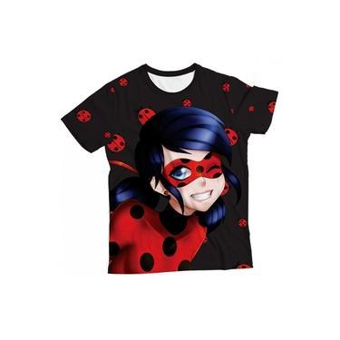 Camiseta Infantil Ladybug Preta MC