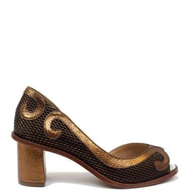 Scarpin Chanel Paula Bahia (bj7130) Laminado Bronze