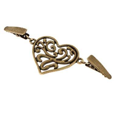 Esquirla Cardigã em forma de coração, suéter, fecho de botão, broche, Bronze, as described