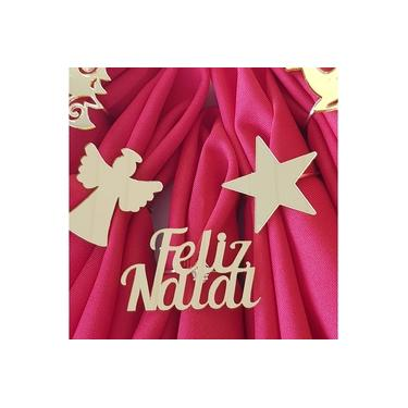 Imagem de Kit com 4 Argola Porta Guardanapo Acrílico Dourado Natal