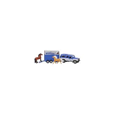 Imagem de Breyer Horses Breyer Farms Land Rover e Tag-a-Long Trailer and Horses Playset Die Cast Land Rover 3,25 H x 10,5 L x 2,5 D 2 cavalos de companheiros de estábulo incluídos 1:32 Escala Modelo 59216, Multi