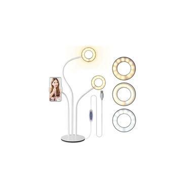 Imagem de Suporte de mesa 3 em 1: 2 Ring Lights e suporte para smartphone