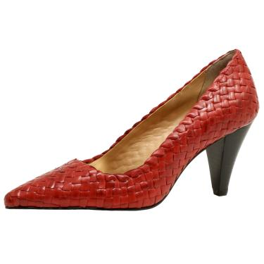 7c77daca15 Scarpin Couro Veleno Tressê Vermelho feminino