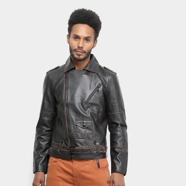 Jaqueta Ellus Leather Wash Perfecto Masculina Marrom
