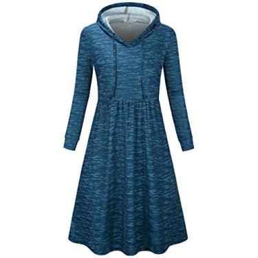 SeSe Code Vestido feminino casual plissado de manga comprida com capuz, Royal Blue, Small