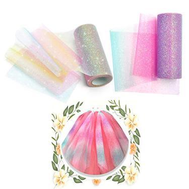 Tecido de tule, Outgeek 2 rolos 10 jardas de organza arco-íris vestido voal multicolorido tecido decorativo tule parafuso festa tule para casamento