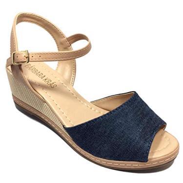 Sandália Flat Bárbara Krás Anabela Jeans - Azul - 37