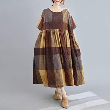 Vestido feminino de algodão e linho Adaskala, com estampa xadrez retrô com decote O, mangas médias, bolsos laterais, roupão, casual solto, tamanho grande, vestido longo