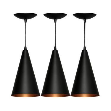 Luminária Pendente Cone Trio Preto Fosco e Bronze