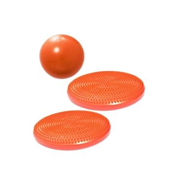 Overball para Pilates 25cm Laranja + 2 Discos Inflaveis de Equilibrio