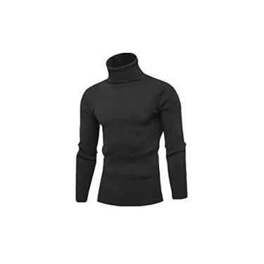 Cacharrel Blusa Tricot Lã Masculina Canelada Gola Alta (Cinza Escuro, M)