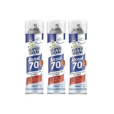 Álcool Spray 70 Super Dom 300ml 170g - Aerosol - 3 Unidades