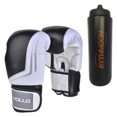 7f4b5e6fd5 kit Luva De Boxe Muay Thai Vollo VFG201 Preta 12oz + Squeeze Automático 1lt