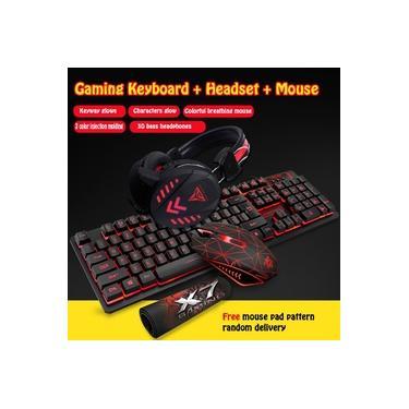 (Teclado mecânico + Mouse para jogos + Fone de ouvido + Mouse pad) Teclado mecânico para jogos com luz de fundo LED