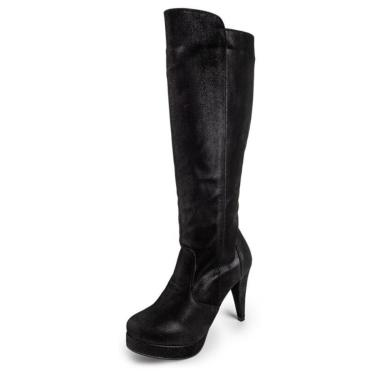 Bota D Rastro Cano Alto Over The Knee Preto  feminino