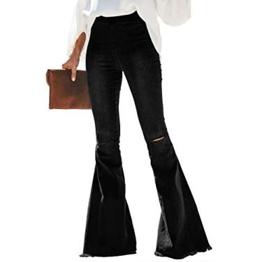 Dearlove Calça jeans feminina Destoryed flare cintura elástica boca de sino calça jeans cru, D Black, L
