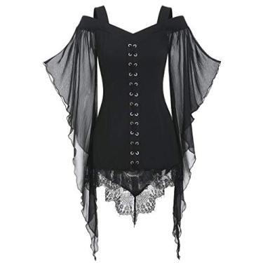 Vestidos góticos para mulheres Plus Size Criss Cross Lace T-Shirt Dress Butterfly Sleeve Irregular Cosplay Vestido Chaofanjiancai, X-black, Large