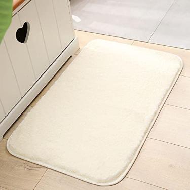 Imagem de jia cool, Tapete de banheiro de espuma viscoelástica espessa, 100 x 150 cm, acolchoado, macio, tapete absorvente de banheiro premium, lavável na máquina, tapete confortável de pelúcia luxuoso para banheiro, branco marfim