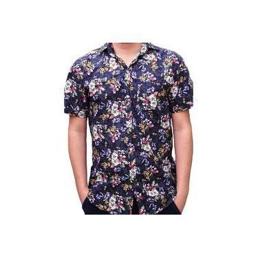 Camisa Estampada Floral Social Masculina Azul Algodão Tricoline