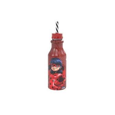 Garrafa Retrô com Canudo Ladybug - Plasútil