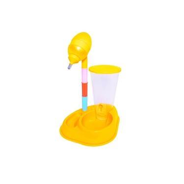 Bebedouro Pet De Bilha Grande Com Comedouro Altura Ajustável - Amarelo