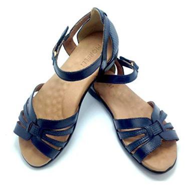 Sandálias Femininas Em Couro Ortopédica Pronta Entrega 1751 Tamanho:37;Cor:Azul