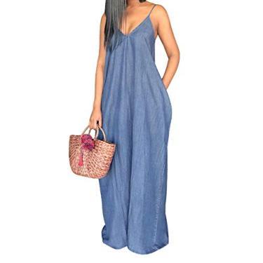 AmzBarley Vestido longo feminino com alça espaguete sem mangas até o chão plus size Vestido casual maxi tamanho jeans leve XL