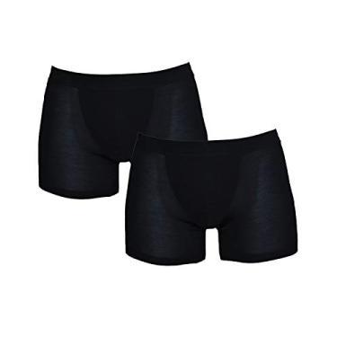 Imagem de Cueca boxer masculina Micro Modal de luxo, pacote com um, Preto, X-Large