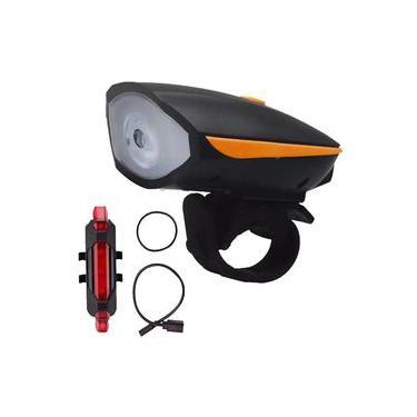 Farol Para Bicicleta Bike Com Buzina + Lanterna Sinalizador Traseiro