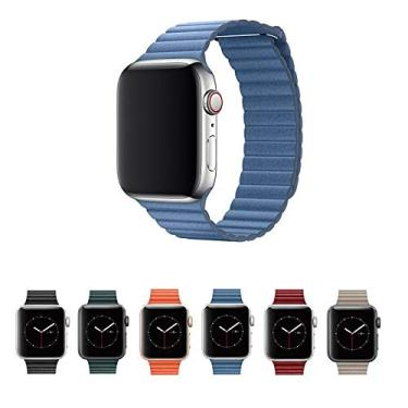 Pulseira Couro Loop para Apple Watch 44mm e 42mm Series 1 2 3 4 5 - Marca Ltimports (Azul Claro)