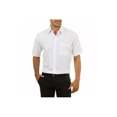 97ce0a3f4d Camisa Social Manga Curta 100% Microfibra Masculina Branca