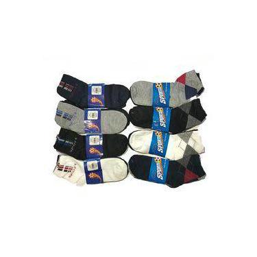 Imagem de Kit 12 Pares Meias Cano Curto Masculino Algodão