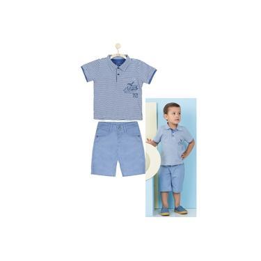 Conjunto Camiseta Pólo Listrada e Bermuda Azul