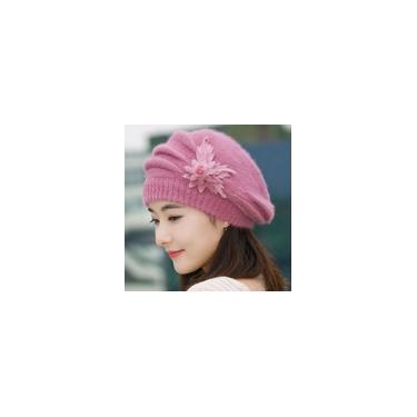 Gorro Moda Feminina Flor Tricô Crochê Gorro Chapéu Inverno Quente Boné Roxo