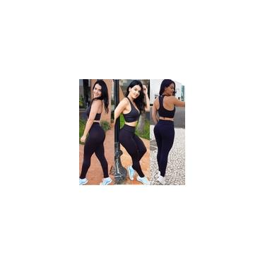 Imagem de Kit Roupas Fitness 3 Calças Legging Lisa + 3 Bermudas Ciclistas Estampadas