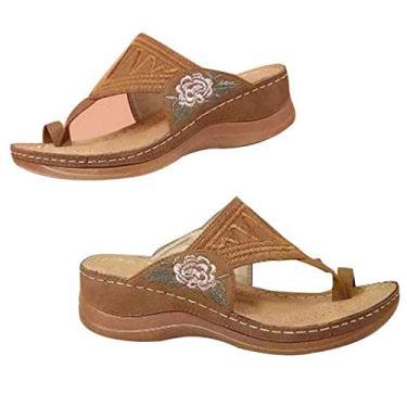 Imagem de EVAGNEE Sandália anabela ortopédica bordada com flor premium, chinelos femininos com clipe, vintage, antiderrapante, para o verão, peep toe (cáqui, 42)