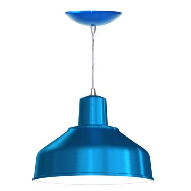 Pendente Bedd 12'' Retrô (Azul Metálico / Branco)