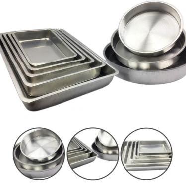 Jogo De Forma Assadeira Tabuleiro Bolo Aluminio Alta 8 Peças - Alumíni