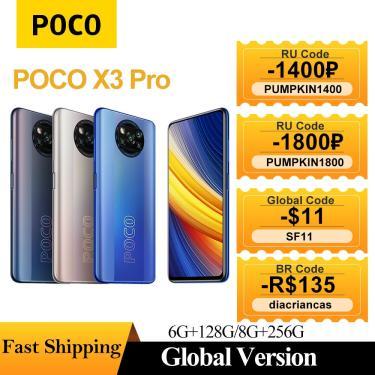 Imagem de Poco x3 pro celular 6gb + 128gb/8gb + 256gb xiaomi android smartphone snapdragon 860 120hz