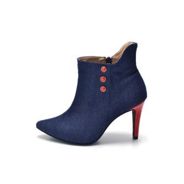 Bota D Rastro Cano Curto Bico Fino Jeans Azul  feminino