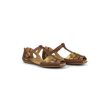 Sandalia Feminina Confort Ziper Chocolate Bronze