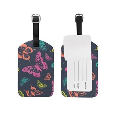 Etiqueta de bagagem Cooper Girl Aquarela Borboleta Viagem Identificação Couro para Mala de Bagagem 1 Peça
