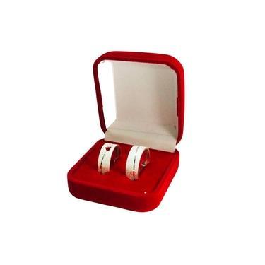 Imagem de Caixa De Veludo Vermelho Premium Par De Alianças De Prata