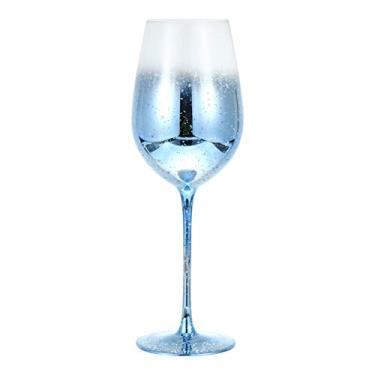 NUOBESTY Taças de vinho de vidro, taças de champanhe, taças de vinho com haste longa, copo de cristal azul, louça decorativa para bar noturno, festa em casa, casamento, azul