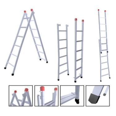Escada Extensiva 3 Em 1 Zincada Ferro 8x14 Degraus 4,10m 120kg nv210