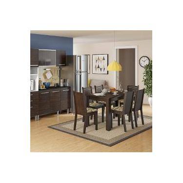 f008d7b4291bd Conjunto Sala De Jantar Mesa E 6 Cadeiras Maris Madesa Tabaco Bege Marrom
