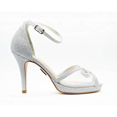 Sandália Salto Fino 10cm Glitter Prata CBK Tamanho:33;Cor:Prata