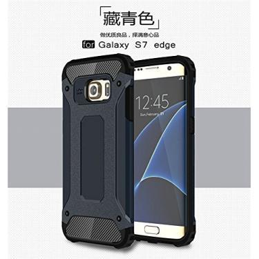 Capa para Samsung Galaxy S7 Edge híbrida de camada dupla resistente à prova de choque PC e TPU + 1 protetor de tela 9H película de vidro temperado HD transparente azul marinho